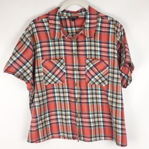 TOPSHOP | plaid cropped button up 0485